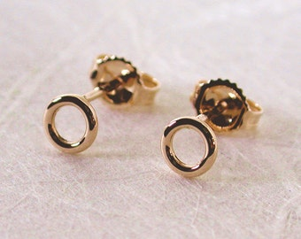 5mm Tiny Gold Circle Stud Earrings 14k Yellow Gold Hoops Handmade Jewelry by SARANTOS