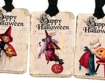 Happy Halloween Tags , Witch Tags , Vintage Halloween , Pumpkins , Owl , Black Cat , Witch on Moon , Treat Bag Tags , Jack O Lantern