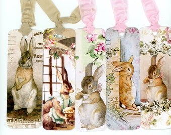 Rabbit Bookmarks , Vintage Bunnies , Bunny Bookmarks , Fall Bunny , Rabbit and Roses , Tea Rabbit , French Rabbit