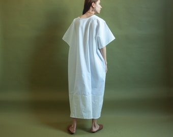 RESERVED. white two tone caftan dress / oversized dress / minimalist sack maxi dress / s / m / l / 2006d / B3