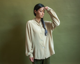 CERRUTI silk blouse / beige blouse / minimalist top / s / m / 061t