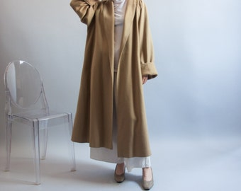 undercover night camel beige minimalist coat / oversized beige wool coat / vtg 80s swing style coat / s / m / 855o