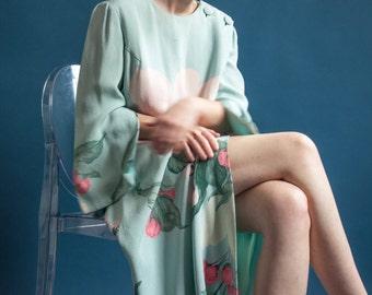 HANAE MORI long floral gown / vtg designer dress / japanese maxi dress / s / 710d