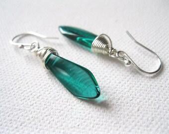 Teal Dagger Earrings. Green Glass Bead Earrings. Briolette Earrings. Sterling Silver Earrings. Wire Wrapped Earrings. Modern Earrings. UK