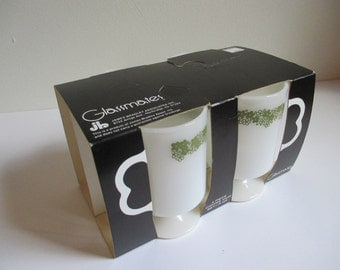 Glassmates Spring Blossom B Handle Pedestal Mugs in original packaging.