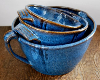 Set of Three Cobalt Blue Nesting Batter Bowls with Handles Stoneware Pottery Ready to Ship
