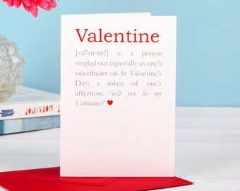 Valentine Definition Card - card for lover - love card - romantic card - card for boyfriend - card for girlfriend - wife husband card