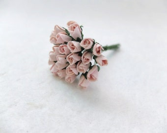20 5mm light peachy pink paper rose buds - pink paper flowers - mulberry paper pink rose