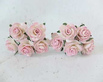 10 25mm white and pink paper roses with wire stems - 1 inch roses
