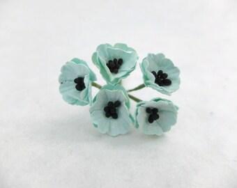 10 mint paper poppy - mint paper flowers