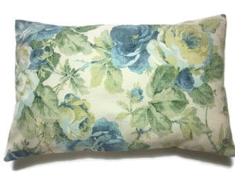 Decorative Lumbar Pillow Cover Shades of Blue Green Taupe Cream Same Fabric Front/Back Toss Throw Accent 12x18 inch