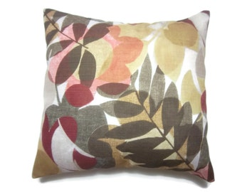 Decorative Pillow Cover Leaf and Modern Flower Design Shades of Red Green GoldTaupe White Same Fabric Front/Back Toss Throw 18x18 inch x