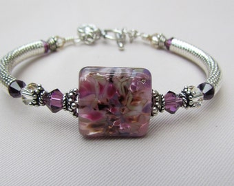 Amethyst Autumn  Lampwork Bangle Bracelet
