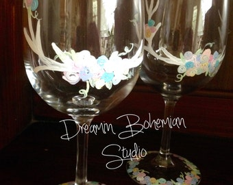 Deer Antler and Rosettes in pastel colors set of 2 hand painted wine glasses
