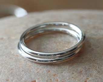 Stacking Rings Sterling Silver • Set of 2 • Size 2 to 15 • Stackers • Stoppers