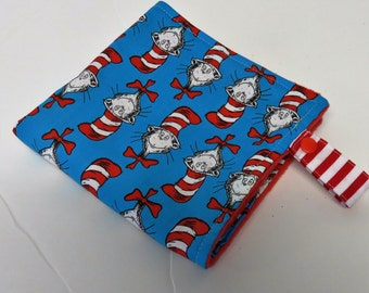 Baby Toddler Lovey Blanket | Made with Licensed Cat in the Hat Dr. Seuss Fabric | Mini Security Blanket with Fabric Loop