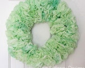 "Green Paper Wreath Rustic Spring Decor Round 17"" Easter"