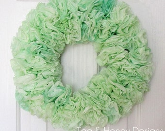 "Green Wreath, Coffee Filter Wreath, Rustic, Round 17"", Nursery, Wedding, Craft Room, Party Decor"