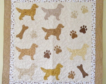 Golden Retrievers quilt throw size  -  54 x 54 inches