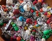 25/50 c assorted grab bag Day of the Dead Skeleton silver-tone charms beads Jewelry Supply Finding