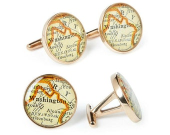 Washington Atlas Cufflinks Solid Golden Bronze Heirloom Antique District of Columbia Map