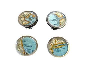 Vintage Map Drawer Pulls 4 New York, Chicago, Boston San Francisco Home Decor House Warming Cabinet Knobs