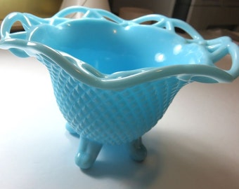 SJK Vintage --  Mid Century Imperial Glass Signed Aqua Blue Milk Glass Footed Bowl with Diamond Pattern and Lace Edge (1950's-60's)