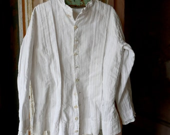 Victorian Era Child's Seersucker Over Blouse