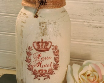 French Country Paris Hotel Glittered Mason Jar Candle Holder, Shabby Chic, European Decor