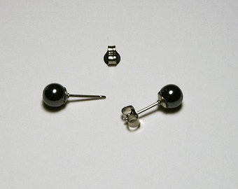 6mm Hemalyte Stud Earrings