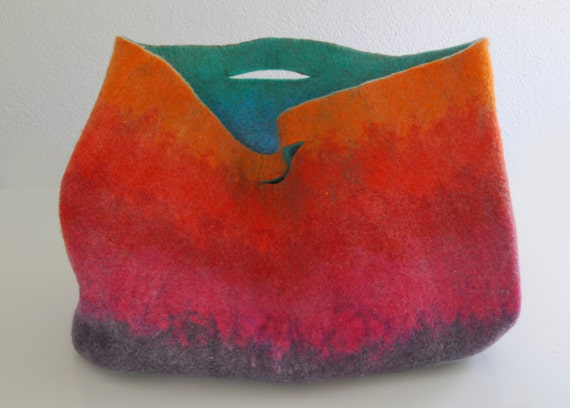 EXTRA LARGE Very Bright Sturdy Everyday Art Bag / Carryall / Tote / Basket / Shopping / Market / Picnic / Hand felted wool / Wearable Art