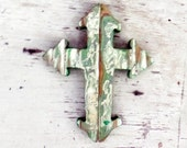 Wooden Wall Cross, Reclaimed Wood Cross,  Distressed Cross, Religious Decor, Gothic Cross Green Cross Rustic Wall Cross Christian Home Decor
