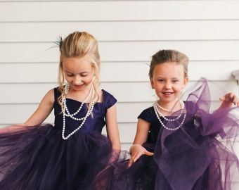 Plum Flower girl dress, floor length flower girl dress, tulle flower girl dress, baby girl party dress, eggplant dress, deep purple dress