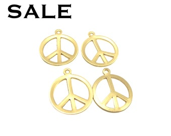 Brass Peace Sign Charms (20X) (M679-A) SALE - 25% off