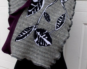 Patchwork Wool Scarf Ruffled Earthy Gray Eggplant Purple Black White Recycled Leaf