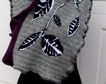 Patchwork Leaf Wool Scarf Ruffled Earthy Gray Eggplant Purple Black White Recycled