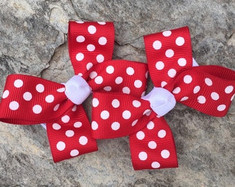 Red/White Polka Dot Hair Bows,Pigtail Hair Bows,Girls Hair Bows,3 Inches Wide,Alligator Clips,Birthday Party Favors