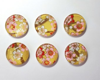 Floral Chiyogami Glass Magnets. Set of 6 Circle Magnets. Flowers on Yellow Background. Magnets Made with Yuzen Chiyogami Paper.
