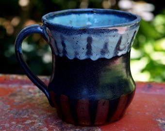 Pottery Mug Black Blue