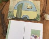 Postcard of a vintage retro caravan from my original artworks