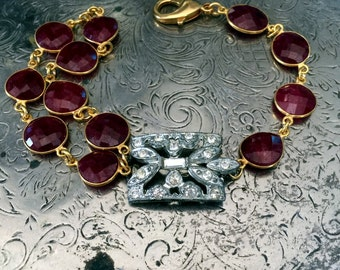 Vintage Art Deco Rhinestone and Natural Ruby One of a Kind Bracelet...Scandal Three