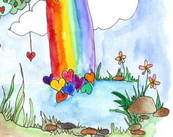 Love at the End of the Rainbow, Tree of Life #28,  original watercolor painting by melanie j cook