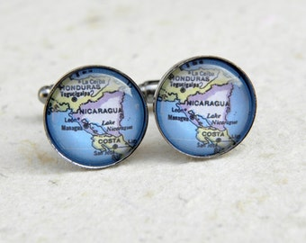 Nicaragua Map Cuff Links - Featuring Managua - Custom Map Jewelry and Accessories for him - Great Groomsmen Gift
