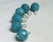 Turquoise Charm Dangles, Faceted 9mm Gemstones, Wire Wrapped Bead Charms for Jewelry Making, Earring Drops, Bracelet Charms