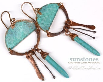 Rustic Copper Earrings with Turquoise E879
