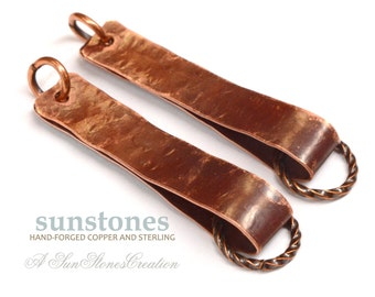 Hand Forged Rustic Copper Earring Components - DIY jewelry making components EC219