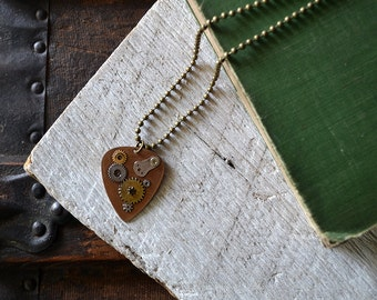 Steampunk Guitar Pick Necklace - Musician Gift - Mens Necklace - Gears - For Him - Custom Guitar Pick - Dad - Husband
