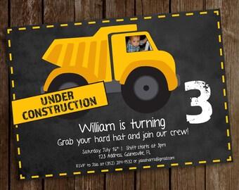 Construction Birthday Invitation - Construction Party - Construction Birthday - Construction Invitation - Boys Birthday Party - Dump Truck