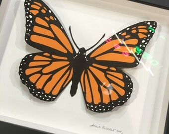 Monarch Butterfly Silkcreen Framed Art Original Design