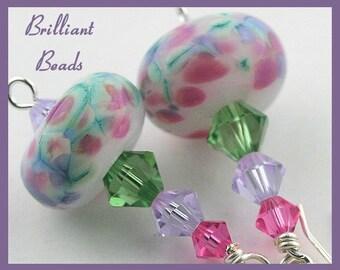 Rose, Violet, Green & Sterling Silver Handmade Lampwork Bead Earrings, SRAJD